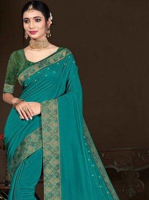 Blue Lace Vichitra Silk Traditional Saree