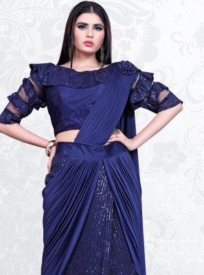 Blue Lycra Designer Saree