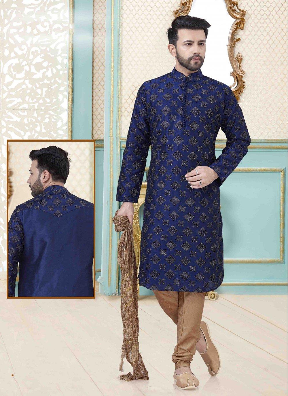 Blue Mehndi Art Dupion Silk Kurta Pyjama