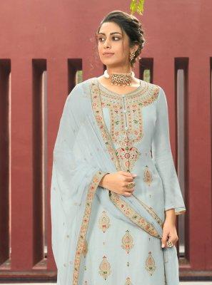 Blue Mehndi Designer Palazzo Suit