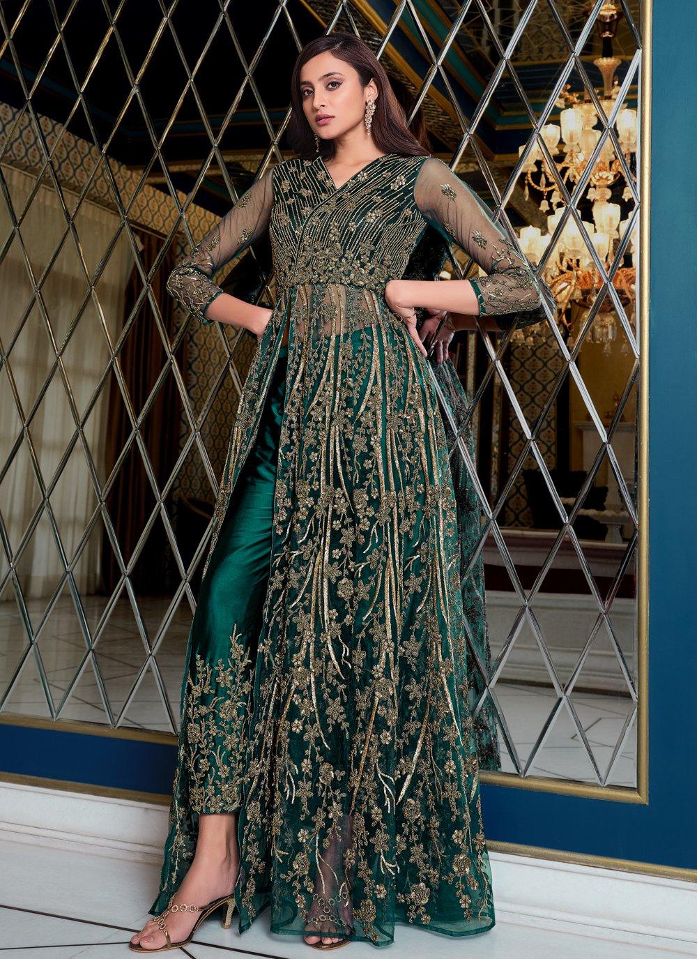 Blue Mehndi Floor Length Anarkali Suit