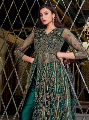 Blue Mehndi Floor Length Anarkali Suit