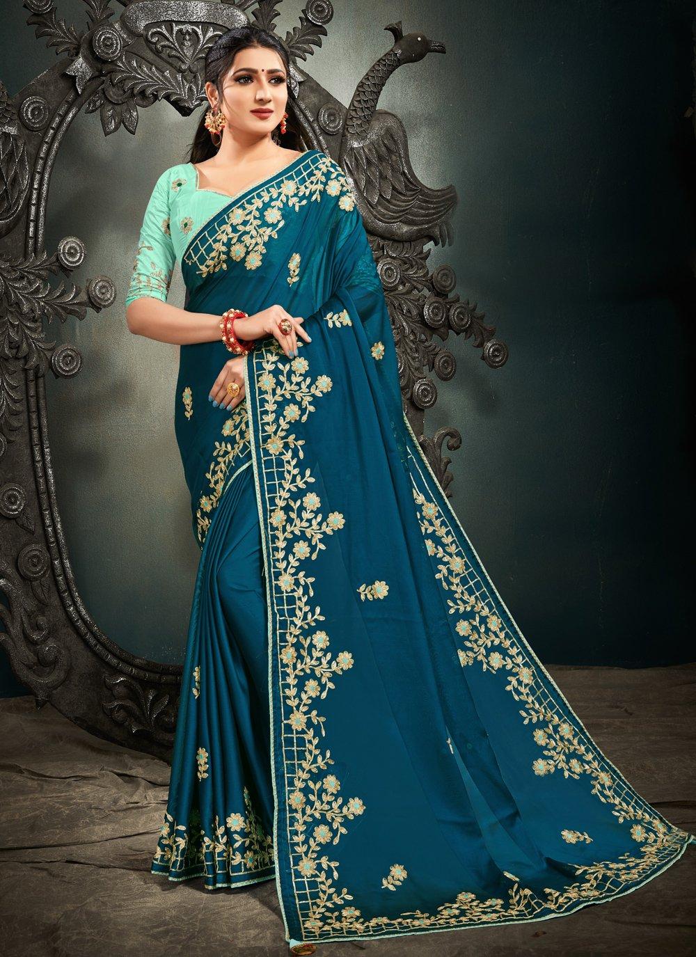 Blue Mehndi Satin Designer Saree