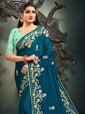 Blue Mehndi Satin Designer Saree