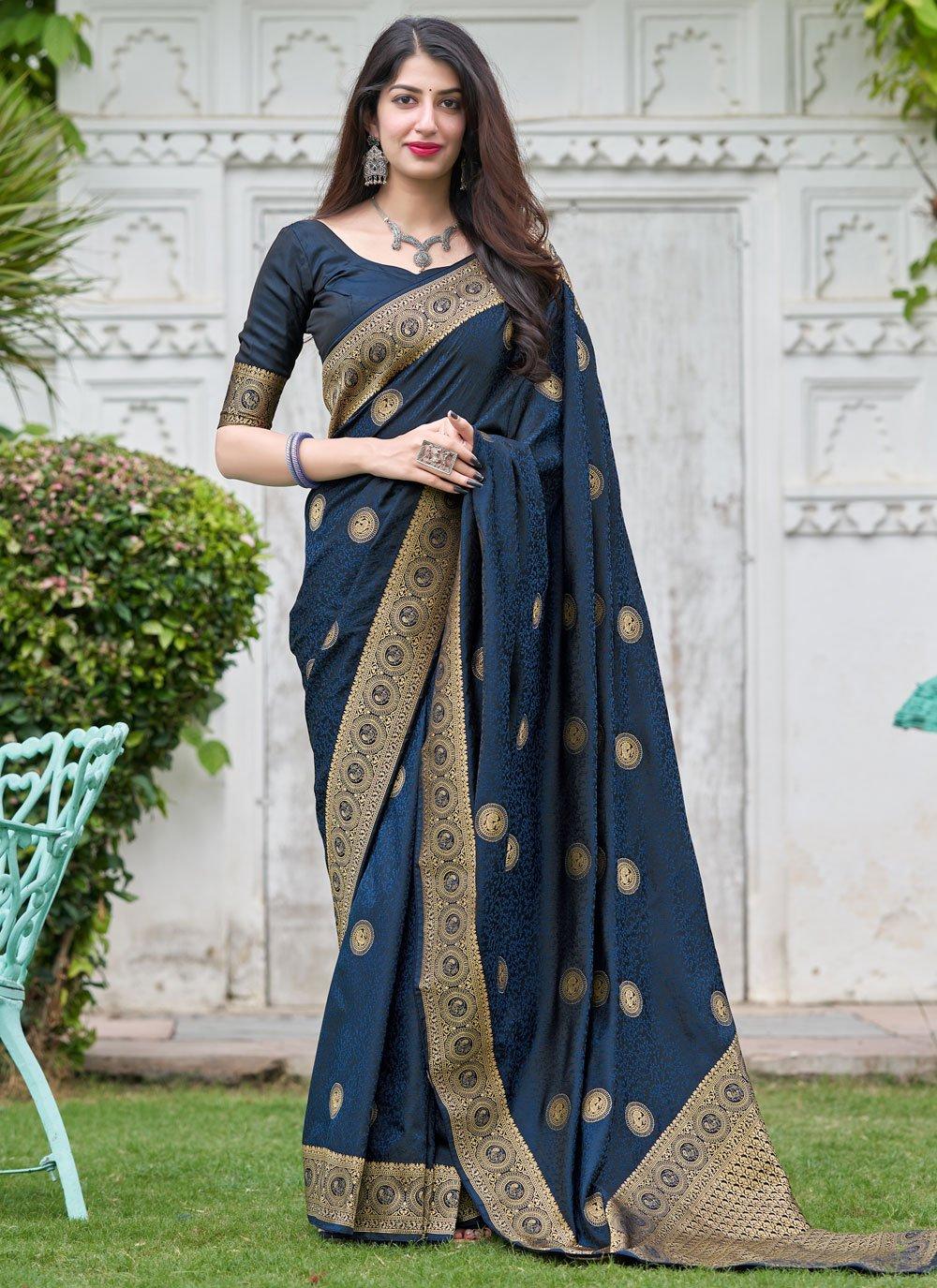 Blue Mehndi Silk Designer Traditional Saree