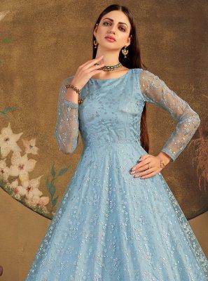 Blue Net Designer Gown