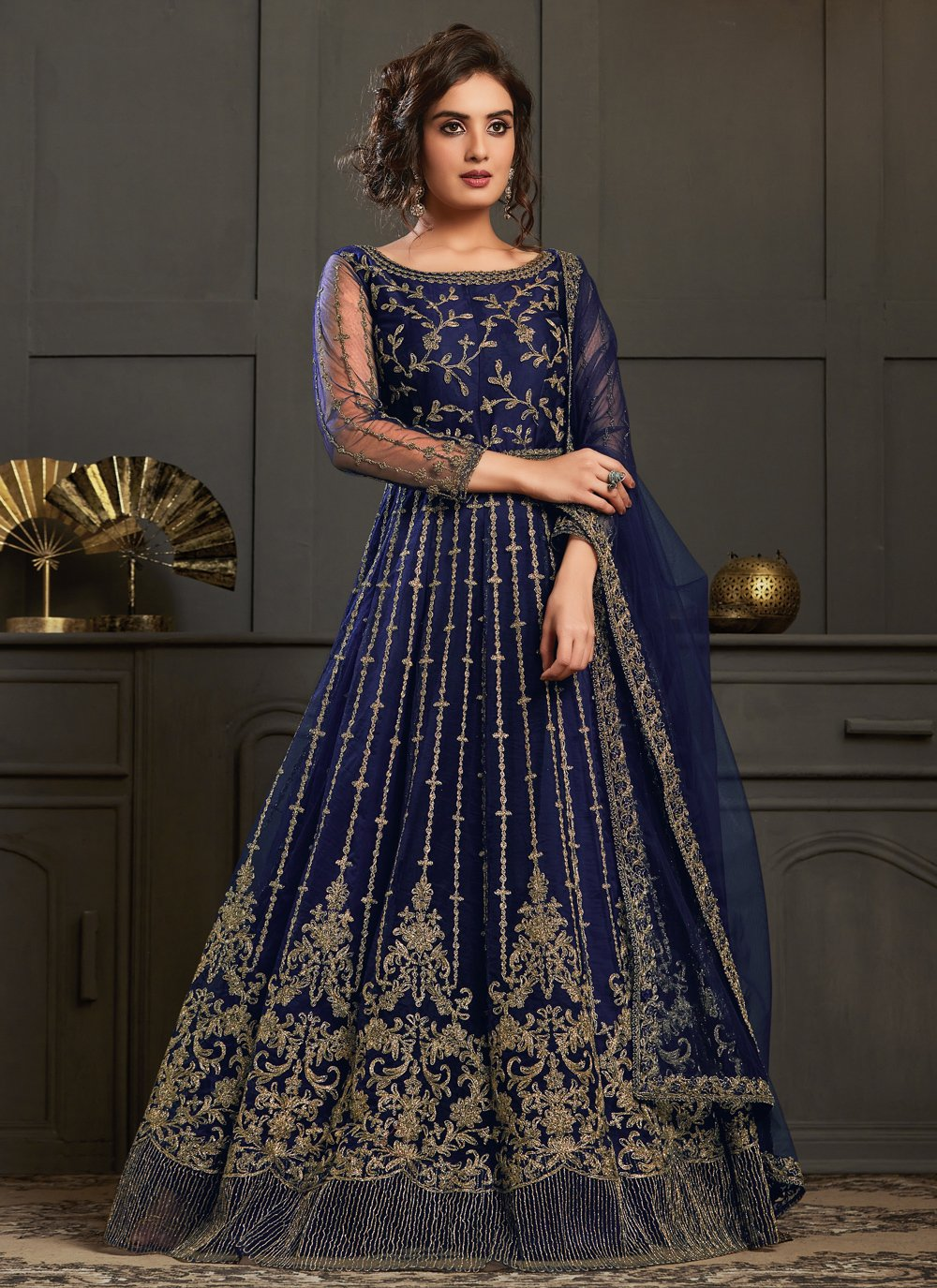 Blue Net Resham Designer Floor Length Salwar Suit