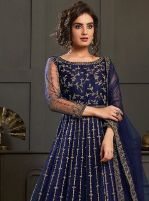 Blue Net Resham Designer Floor Length Salwar Suit