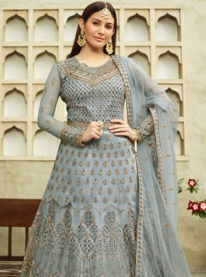 Blue Net Resham Floor Length Anarkali Suit