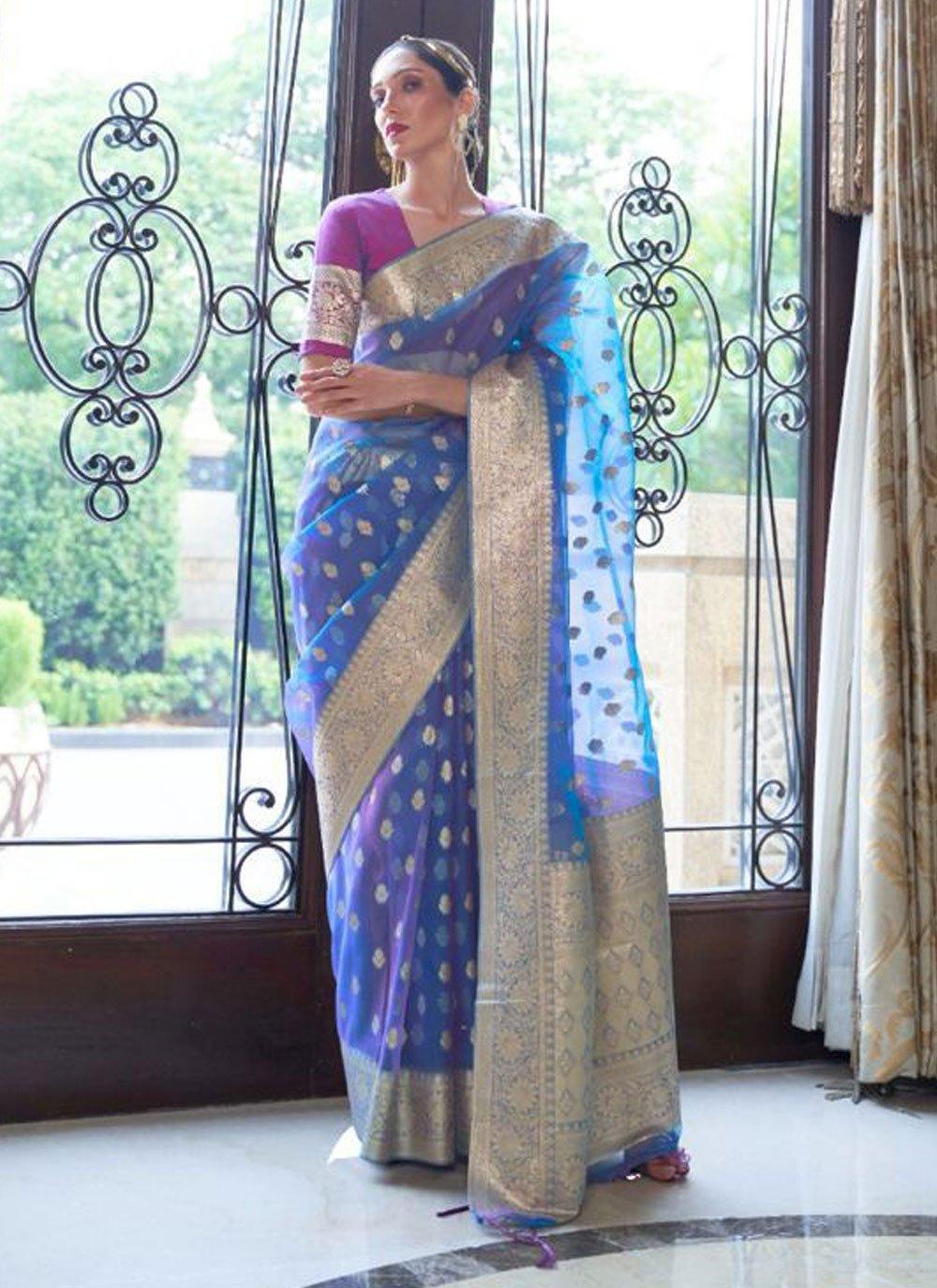 Blue Nylon Woven Designer Traditional Saree