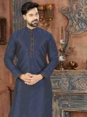 Blue Party Art Dupion Silk Kurta Pyjama