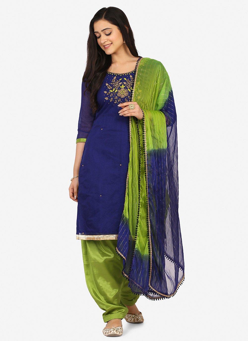 Blue Party Blended Cotton Patiala Suit