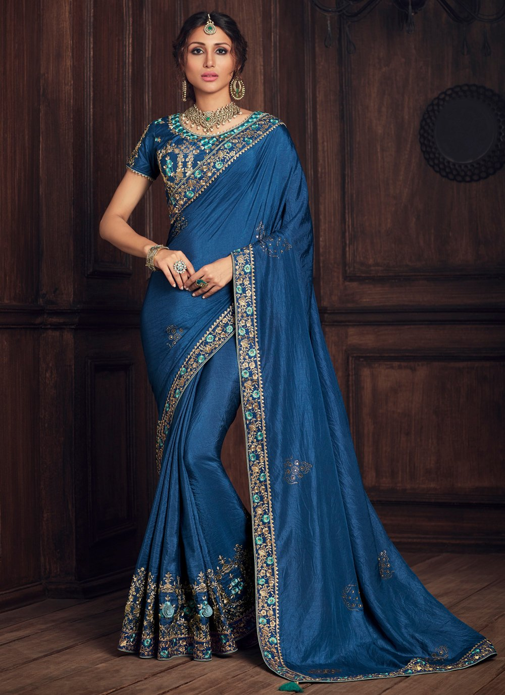 Blue Party Poly Silk Designer Traditional Saree