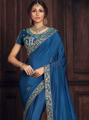 Blue Party Poly Silk Designer Traditional Saree