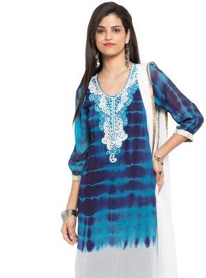 Blue Patch Border Faux Georgette Readymade Salwar Kameez