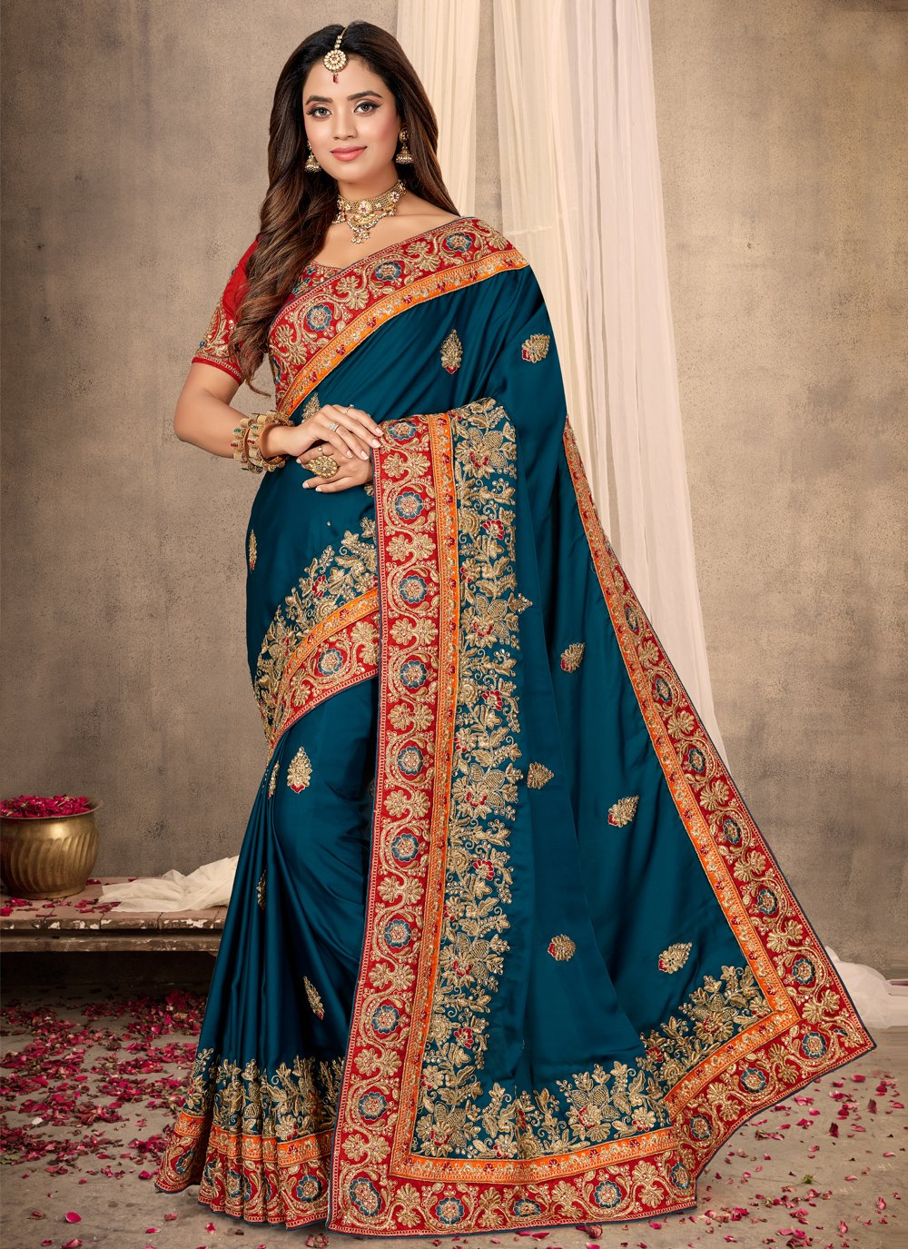 Blue Patch Border Satin Classic Designer Saree