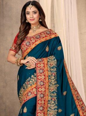 Blue Patch Border Satin Classic Designer Saree