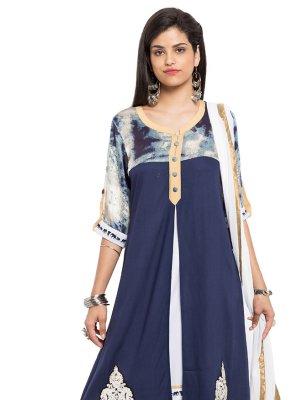 Blue Patchwork Cotton Readymade Salwar Kameez