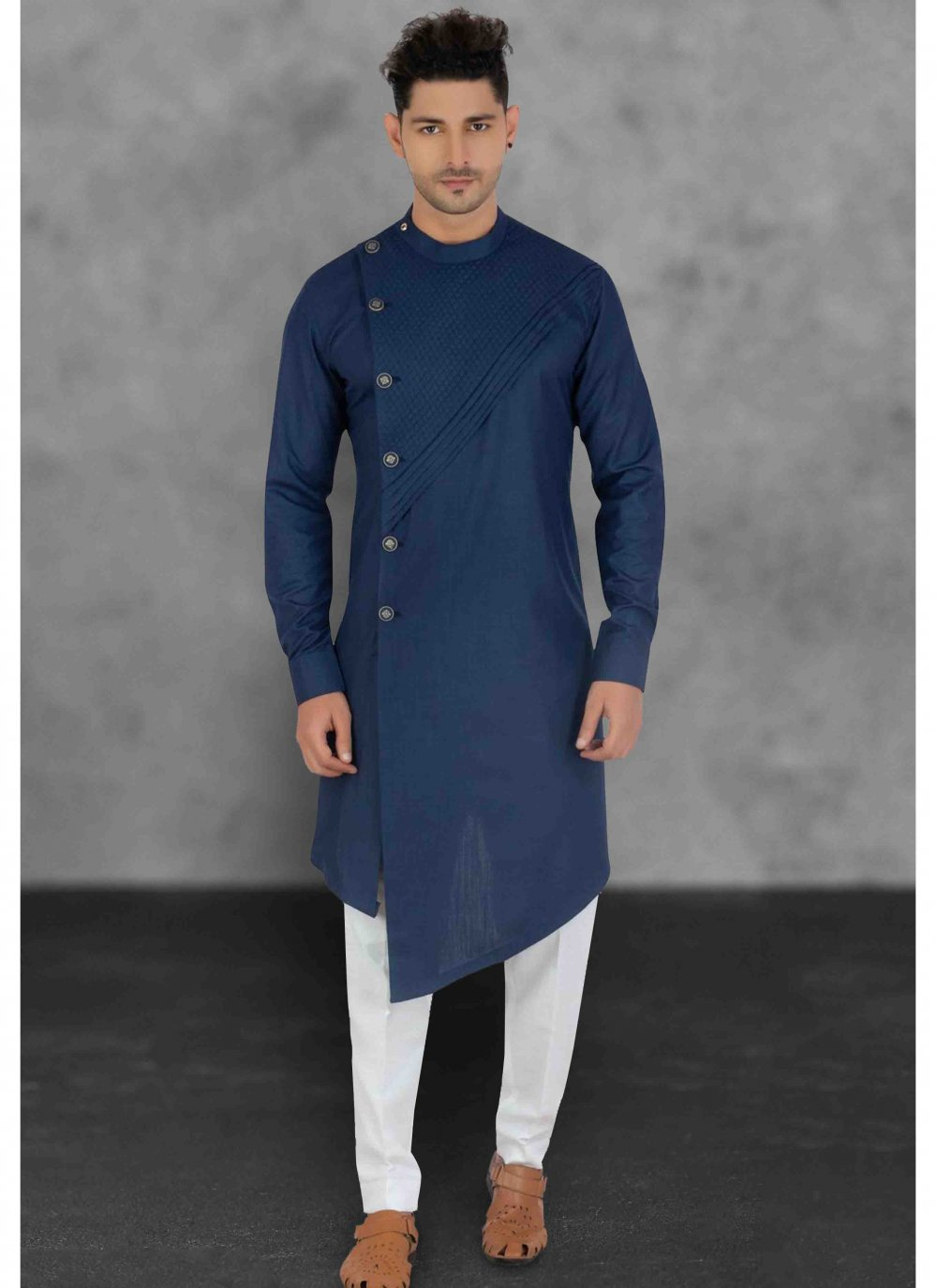 Blue Plain Cotton Kurta Pyjama