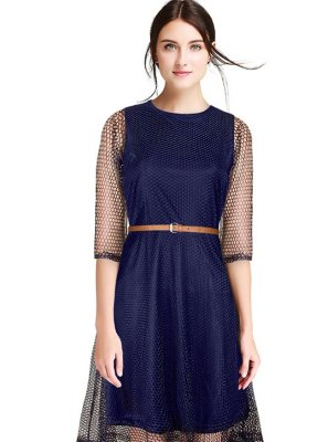 Blue Plain Net Party Wear Kurti