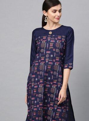 Blue Poly Silk Designer Kurti