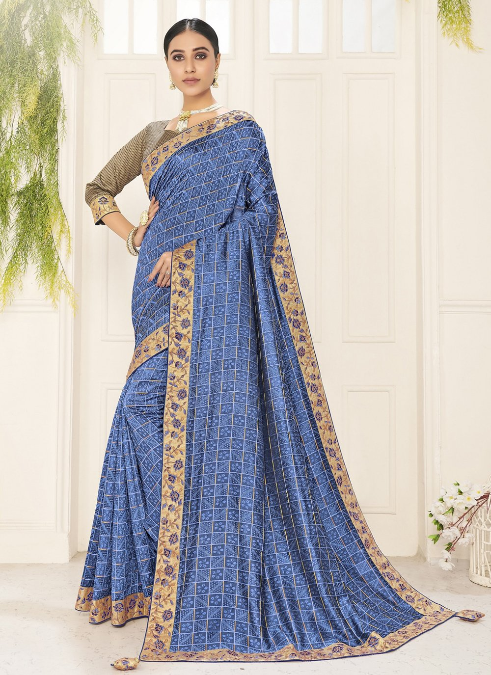 Blue Poly Silk Traditional Saree