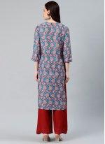 Blue Polyester Print Party Wear Kurti