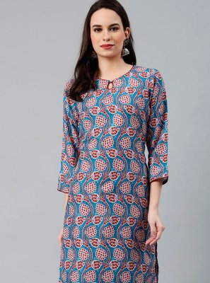 Blue Polyester Print Party Wear Kurti