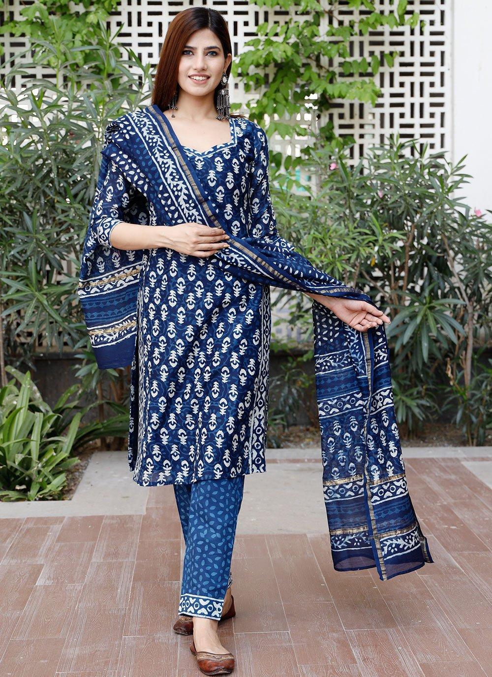 Blue Print Chanderi Designer Suit