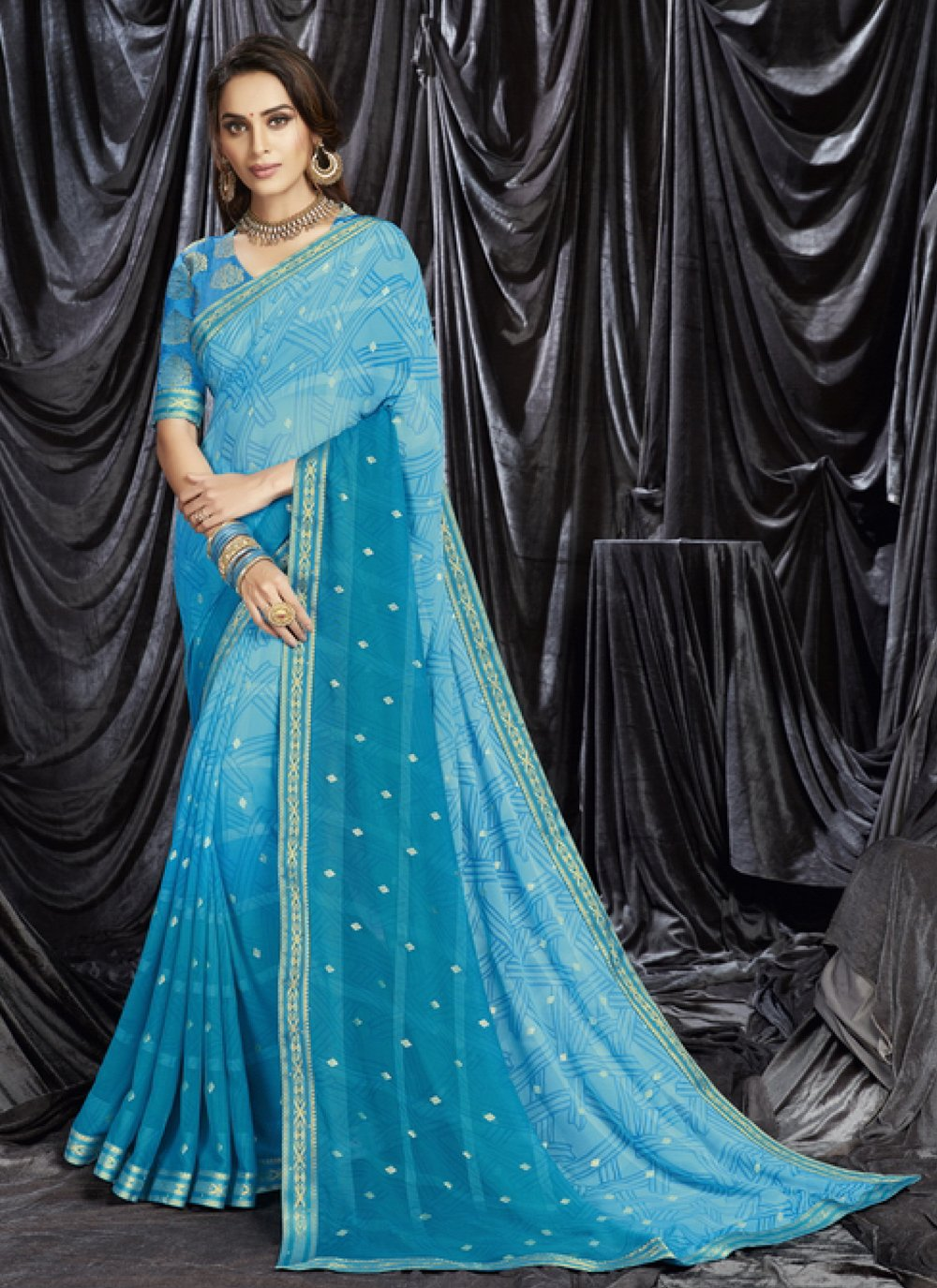 Blue Print Faux Georgette Shaded Saree