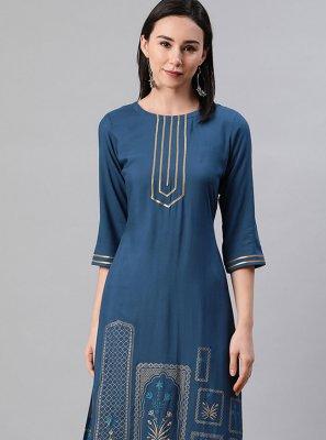 Blue Print Party Wear Kurti