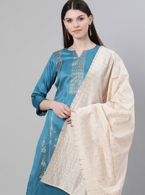 Blue Print Poly Silk Designer Salwar Kameez