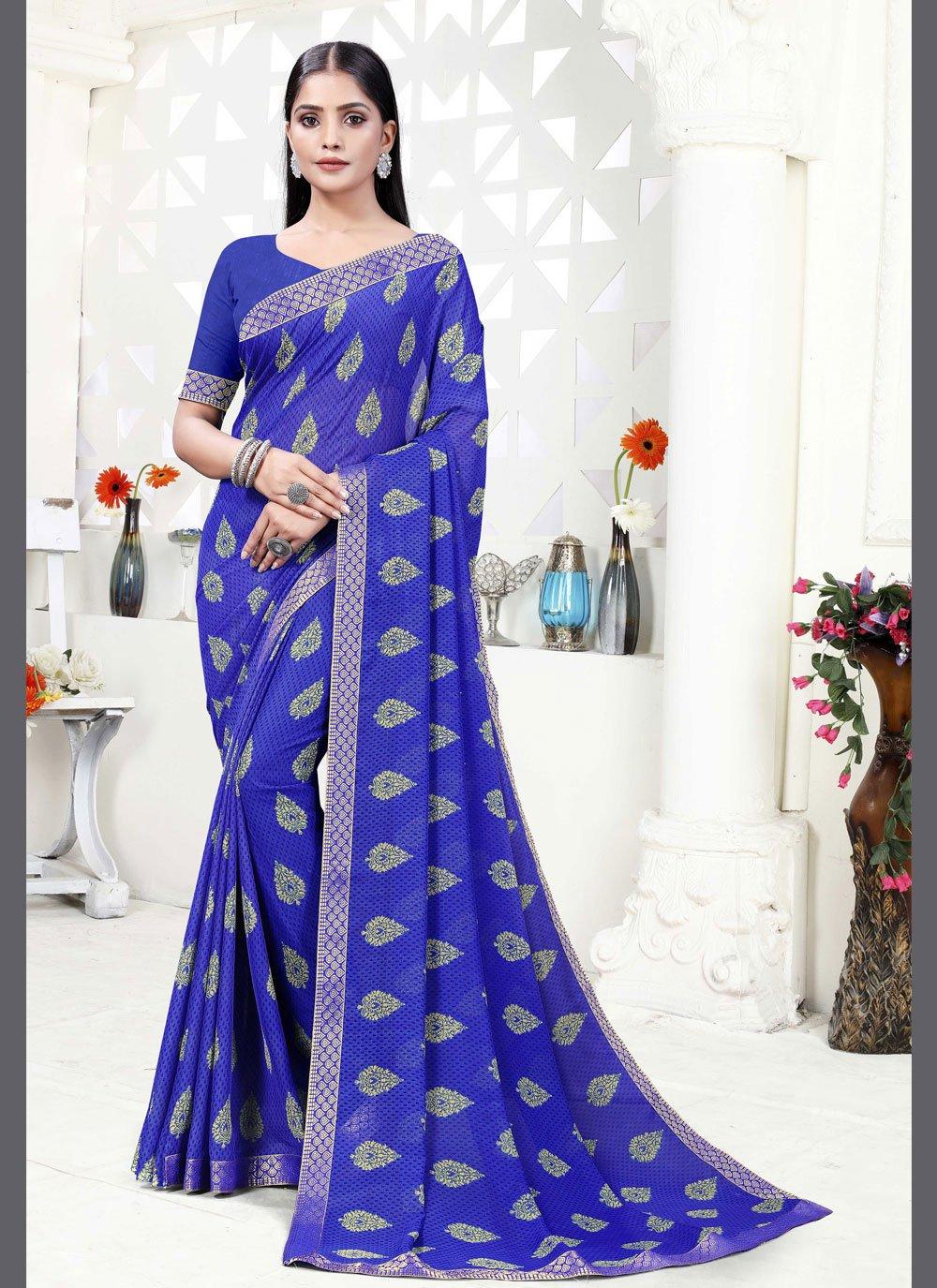 Blue Print Printed Saree