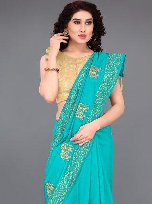 Blue Print Silk Printed Saree