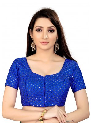 Blue Printed Art Silk Blouse
