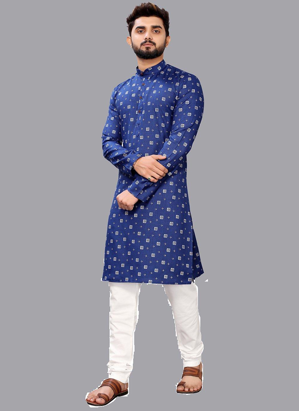 Blue Printed Ceremonial Kurta Pyjama