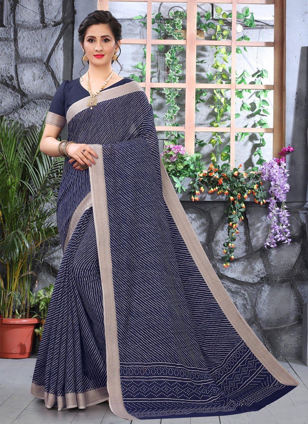 Blue Printed Cotton Printed Saree