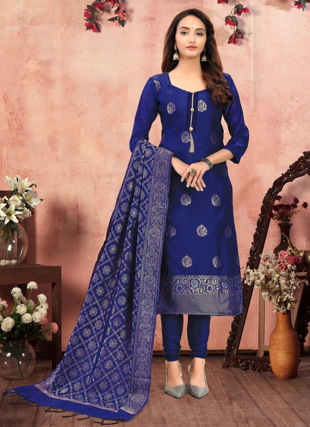 Blue Printed Festival Churidar Designer Suit
