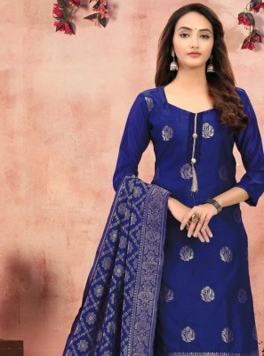 Blue Printed Festival Churidar Designer Suit