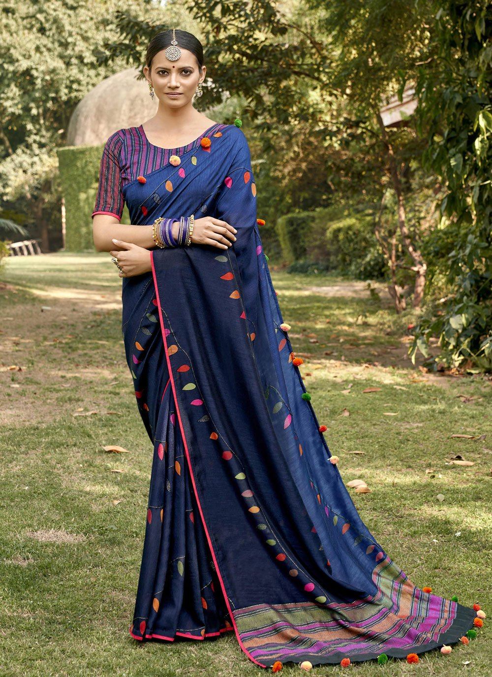 Blue Printed Party Trendy Saree