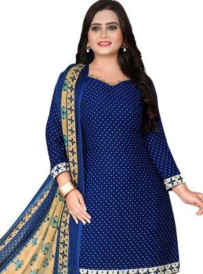 Blue Printed Patiala Suit