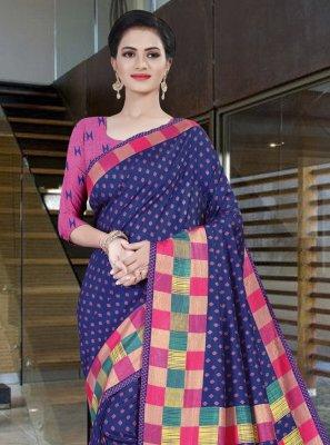 Blue Printed Printed Saree