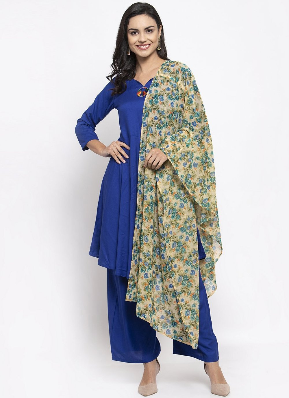 Blue Rayon Readymade Suit