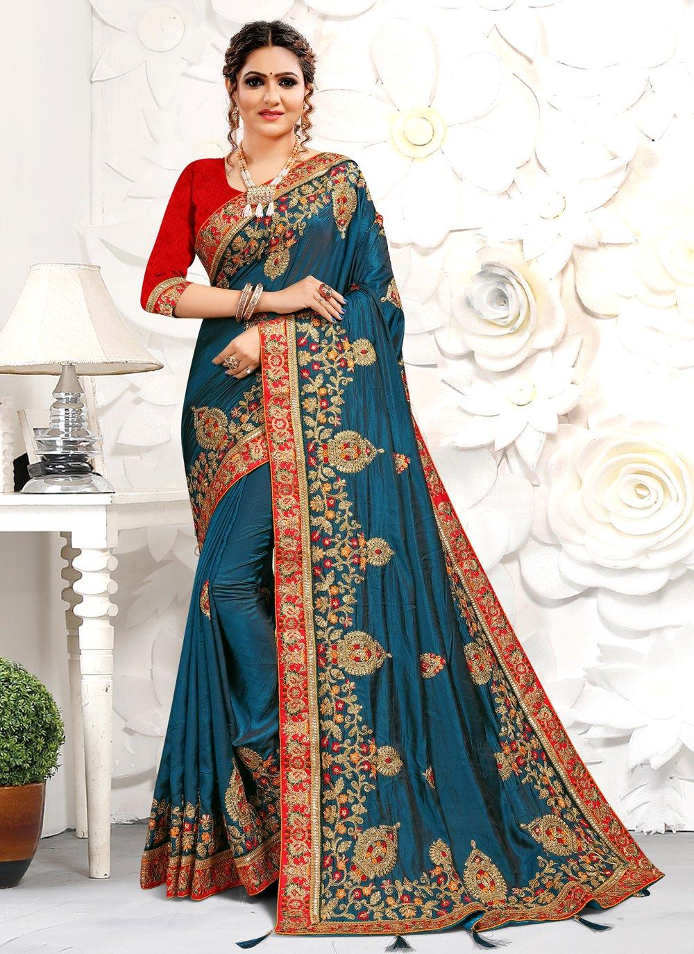 Blue Resham Designer Traditional Saree