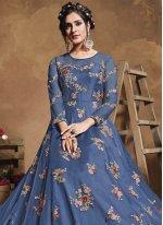Blue Resham Net Floor Length Anarkali Suit