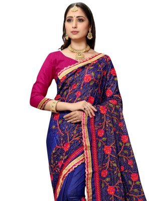Blue Resham Silk Designer Traditional Saree