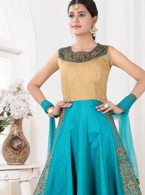 Blue Sangeet Art Silk Floor Length Anarkali Suit