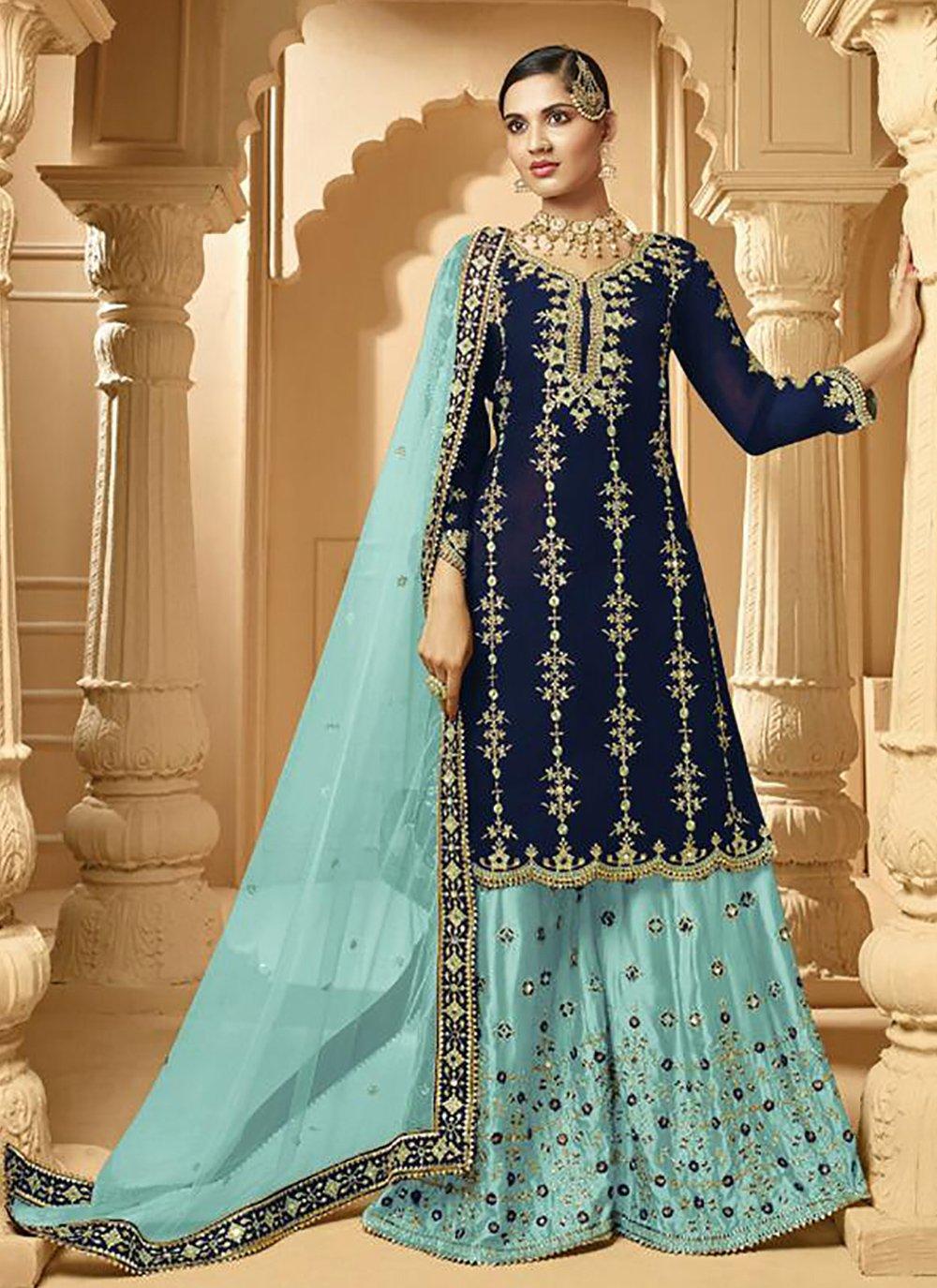 Blue Sangeet Designer Palazzo Suit