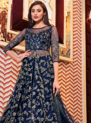 Blue Sangeet Long Choli Lehenga