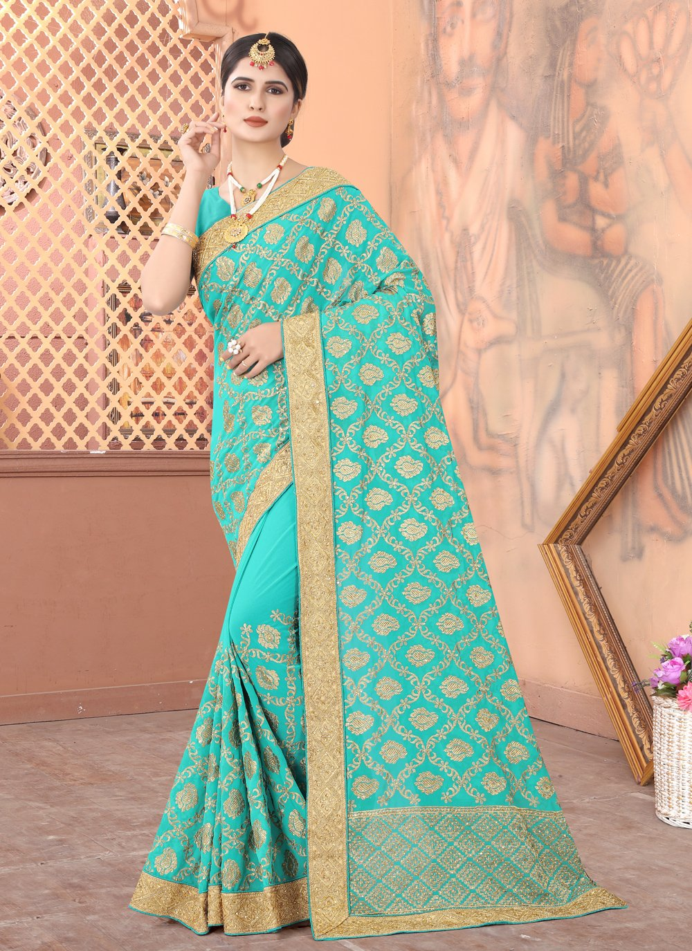 Blue Sangeet Traditional Designer Saree